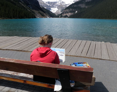 Painting Lake Louise en plein air