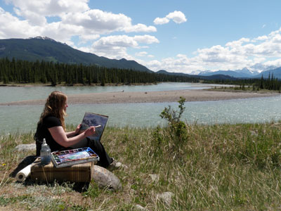 Painting Edith Cavell in Jasper en plein air