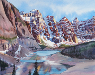 Moraine Lake Louise Banff Kendra Smith artist watercolour painting Mountain Galleries