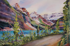 Lake Louise Banff Kendra Smith artist watercolour painting Mountain Galleries