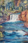 Johnston Canyon Falls Banff Mountain Galleries watercolour painting Kendra Smith art
