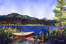 Canoe by Lake Kendra Smith Art