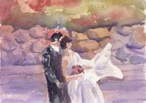 Kendra Smith commissioned KendraArt original watercolour painting of wedding couple