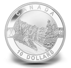1/2 oz silver coin O Canada Series designed by Kendra Dixson skiing in Canada