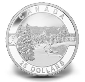 1 oz silver coin O Canada Series designed by Kendra Dixson skiing in Canada